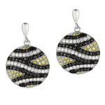 Silver Rhodium Finish Shiny Fancy Round Drop Earrings. Tri-Color C.Z.'s. Stock # 36-17318ACG