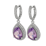 Silver. Shiny Tear Drop Amethyst Semi-Precious+CZ Dangle Earrings. Stock # 36-1735BCCF