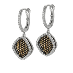 Silver. Shiny 13mm Diamond-Shape Coffee+White CZ MicroPave Earring. Stock # 36-1735BCDD