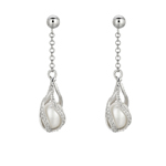 Fresh Water Pearl Dangle Silver Earrings Stock # 36-175CID