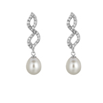 Silver Rhodium Finish Shiny White Pearl Twisted Fancy Cubic Zirconic Earring Stock # 36-175CIE