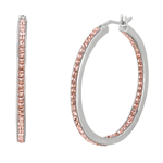 Silver. Shiny Oval Hoop Earring with Rose Crystals. Stock # 36-17635ADB