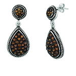 Silver. Black Rhodium. Shiny Teardrop Shape Drop Earring with Coffee C.Z. Stock # 36-1765DCZ