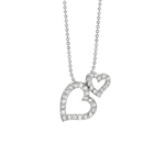 "Rhodium Silver Cubic Zirconic Double Heart Pendant on 18"" Chain Stock # 36-176AGG"