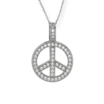 "Micro Pave Peace in Circle CZ Pendant on 18"" Chain Stock # 36-176BQQ"
