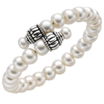 Silver Oxidized Finish 9.0mm White Pearl By Pass Bangle Stock # 36-176CHB-7.5
