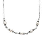 "Silver Rhodium+Oxidized 9.2mm White Pearl 17"" Necklace Stock # 36-176CHC-17"