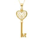 "14 Karat Yellow Gold Filagree in Heart Key. 18"" Chain. Stock # 36-264AZZ"