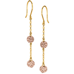 14K Y.G. Shiny Cable Chain Link with 2 Rose Crystal Ball Drop Earring. Stock # 36-518ABGE