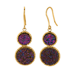 14K Yellow Gold Textured 2 Drop Disc Earring with Amethyst Drusy. Stock # 36-518AGHC