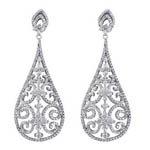 SS Filagree Tear-Drop Earring. Stock # 41-F516AAAG