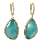 Aqua Semi Precious Stone SS Earrings. Stock # 41-G523DGAQUA