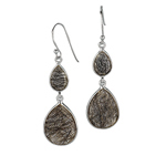 Sterling Silver Earrings with  Pear Shaped Rutilated Quartz. Stock # 81-16735DZBF