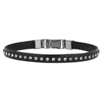 "Stainless Steel 7.5"" Shiny Drk Brown Leather Bracelet Dep Clasp. White Crystal. Stock # 81-1919FIZ"