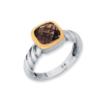 18k Yellow Gold & Sterling Silver Ring w/Smokey Topaz. Stock # 81-1991218AZA