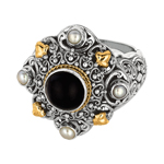 18k Yellow Gold & Sterling Silver Ring w/Black Onyx & Pearls. Stock # 81-1991218AZCD