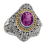 18k Yellow Gold & Sterling Silver Ring w/Amethyst. Stock # 81-1991218AZCF