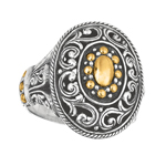 18k Yellow Gold & Sterling Silver Ring. Stock # 81-1991218AZCH