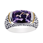 18k Yellow Gold & S.S.Oxidized Amethyst Graduated Band. Stock # 81-1991218EH