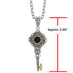 Sterling Silver and 18 karat Gold Key Pendant with Black Onyx and Pearl. Stock # 81-1991238FZAE