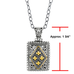 18k Yellow Gold & Sterling Silver Oxidized Long Rectangular Pendant.  Stock # 81-1991238FZGD