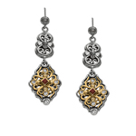 18k Yellow Gold & Sterling Silver Oxidized Smokey Quartz Earrings. Stock # 81-199125ACE