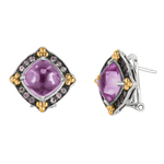 18k Yellow Gold & Sterling Silver Amethyst+Pink Sapphire Omega Back Earrings.  Stock # 81-199125ADD