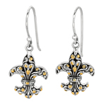 18k Yellow Gold & Sterling Silver Fleur De Lis Drop Earrings. Stock # 81-199125DCC