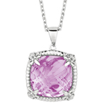 Silver Pink Amethyst Pendant Stock # 81-Q73QECE
